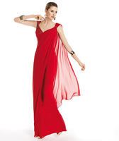 Long 2015 Evening Dresses A Line V Neck Spaghetti Straps Red Chiffon Beads Floor Length Party Dresses New Style Women Fashion