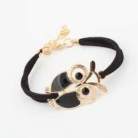 Fashion lady women jewelry high quality vintage all-match multicolor painted alloy owl bracelets BR201