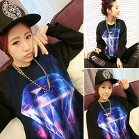 Japanese Harajuku style psychedelic punk universe Rhinstone Star Symphony new autumn ladies sweater wholesale DA1086