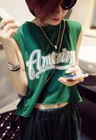 2014 summer back placketing wind short design roll-up hem sleeveless crop top women t shirt