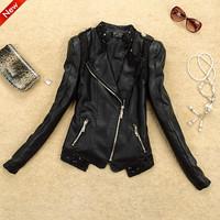 New 2014 Spring Slim Short  PU Leather Jacket Women Plus Size Outerwear Jacket Women Leather Clothing Motorcycle Leather Coat
