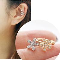 Lovely Ladies U-shaped Clip Crystal Women's Stud Earrings Girls Friends Gift R-099