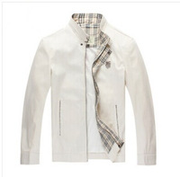 2014 spring and autumn Top Brand business jacket men formal leisure coats 100% cotton Fashion  jackets Free white black