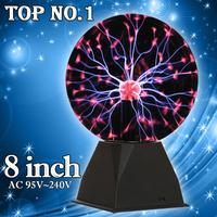 2014 New Toys 8inch Magic Glass Plasma Ball Sphere AC96v~240v Glass Ball Novelty Night Light Gift Box Christmas Party Decoration