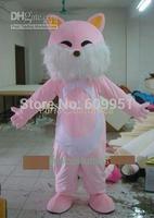 2014 adult size Halloween Christmas pink fox Mascot Costume Fancy Dress Hot Sale