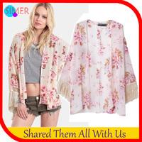 2014 New arrivals Ladies' Elegant Floral Print Loose kimono Jacket Tassel Shirt vintage cardigan brand designer Outwear & coats