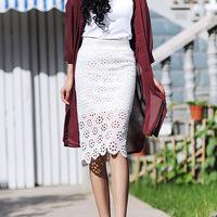 2014 summer Europe America Women's style lace skirts hollow flower hip  skirts Slimming summer autumn pencil skirt women RD-183