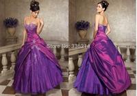 2014 Stock Long Formal Purple Taffeta Prom Dress Evening Gown Party Dresses Vestidos De Fiesta Size 6 8 10 12 14 16