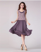 2014 new summer Chiffon false two dresses in foreign trade sleeveless dress