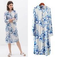 2014 New arrivals Ladies' Elegant blue floral print long blouses turn-down collar long sleeve casual slim brand designer tops