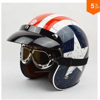 2014 Fashion TORC helmets,captain america 3/4 retro vintage capacete,motorcycle open face helmet,american flag helmet