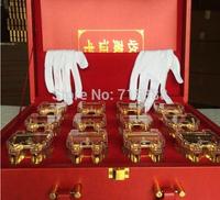 Chinese Zodiac bar set of 12 pieces metal animal tripod  gold AG999