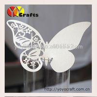 Unique paper white pearl color wedding favor laser cut butterfly laser cut place cards