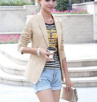S-XXL New Fashion Women's Slim V-neck short-sleeved casual jacket blazer 3color , Black ,Khaki,White #M078