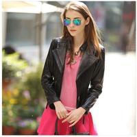 2014 spring slim short brand women genuine leather sheepskin motorcycle jackets woman jacket coat free shipping OM-44 dropship