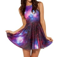 Free shipping 2014 new women's character Digital printing Star galaxy pattern Pleated dress