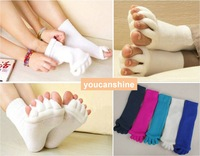 1 Pair Fashion Casual Sports Soft Yoga GYM Massage Open Five Toe Separator Socks Foot Alignment Pain Relief Gift Warm 5 Colors