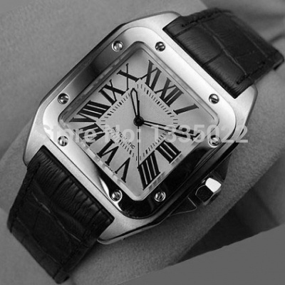 Luxury men New Model Mens Gent's Santos 100 XL Automatic Men's Steel Silver Dial W20073X8 Sport Limited Edition Men's Watches(China (Mainland))