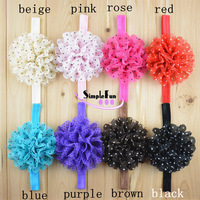 Newest Swiss Dot Chiffon Flower With 1.5cm Elastic Headband Mix Color 50pcs/Lot