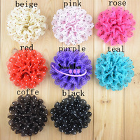 Cheap 11cm Polka Dot Chiffon Flower DIY Garment trimming Bow Mix Color 60pcs/Lot