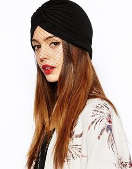 2014 Brand Черный Женщины Ladies Turban Hat With Mesh Veil Detail Cap