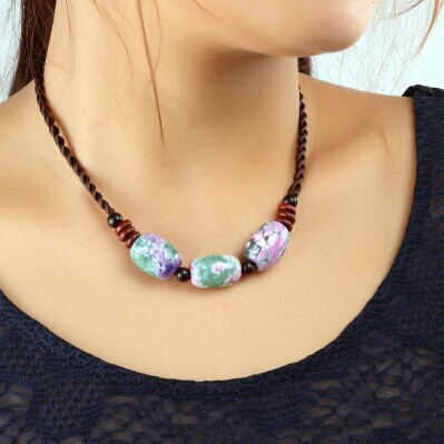 Natural agate cameo stone braided rope necklace vintage ethnic tribal bohemia tibet jewelry women collier collar