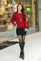 Free Shipping Hotsale 2014 Spring New Korean wide round neck sweater women bottoming shirt long sleeve sweater female bats