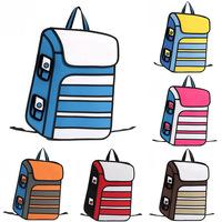 2014 New Design 3D Jump Style Comic Backpacks Cartoons Knapsack for Men or Women 2D Printed Rucksack Outdoor Canvas Travel Bags