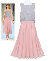 2014 Brief Style Patchwork Long Pleated Dress Sleeveless Tank Dresses Chiffon Elegant Women