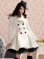 Casacos Femininos 2014 Winter Trench Coat For Women Women's Coats Wool Female Coat Plus Size XXL White Red Black