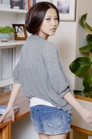 Free Shipping Hotsale 100 Pcs/Lot 2014 Korean women's Puff Sleeve hollow shawl collar cardigan sweater Slim Doll