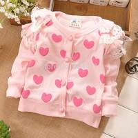 1Retail!2014 new summer baby long-sleeved coat. The princess coat. 100% cotton coat. Children's coat. Love jacket.Free shipping