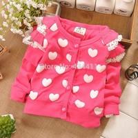 1Retail,2014 new summer baby long-sleeved coat.baby girls fashion cardigan,princess coat,100% cotton ,Children's coat, love coat