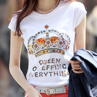 FreeShipping T-shirt female summer short-sleeve 2014 plus size clothing big rhinestones top women's summer t shirt large size