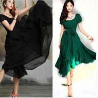 2014 Spring Womens vintage Pleated Maxi Party Evening Chiffon Summer Long Dress plus size black vestido femininos women clothing