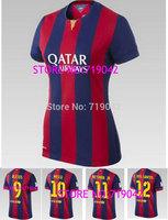 top thai quality 14/15 women NEYMAR JR MESSI home soccer football jerseys, XAVI A.Iniesta female soccer uniform embroidered logo