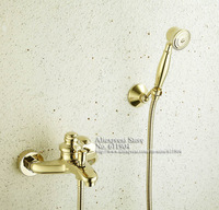 Gold Color Finish Bathroom Bath Tub Faucet Handheld Shower Head Faucet Mixer Tap 1701006