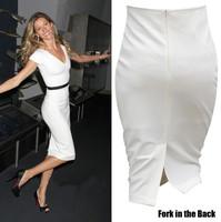 Spring Summer Woman Pencil Skirt Knee-Length Skirts Slim Package Hip Skirts Large Size Fashion Female Skirt Color Black-White
