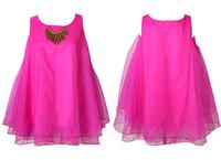 New Arrival Women O-neck Sleeveless Candy color Dress Fluorescent organza Pettiskirt  jumper 11colour