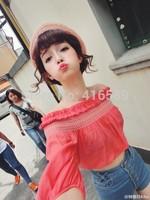 Vivi6 lilybrown slit neckline embroidery ruffle hem puff sleeve high waist short design top