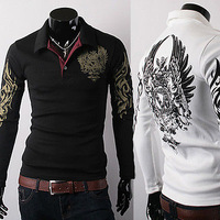 2014 men's long sleeve T-shirt eagle printed logo cotton long sleeve T-shirt high quality Free shipping