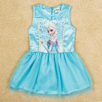 2014 Romance Snow  Dress Girls Dress Children's Summer Cartoon New Gauze Sleeveless Princess Dress