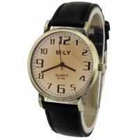 2014 Promotion!  Luxury Black Man Men Boy Sport Quartz Watch PU Leather Unisex Wrist Watches, Free Shipping