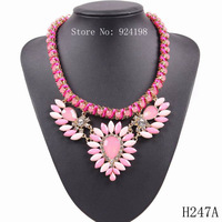 fashion 2014 new design brand party elegant string chain braided crystal pendant necklace jewelry for girls