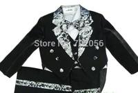 2014 black children boy Tuxedo suit Wedding suits Formal Party Groom Jacket+Pants+bow tie+vest+Dress shirt 5 pc set#3695