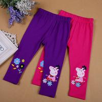 Momo Peppa Pig Girl Leggings, girls embroidered cotton leggings, Purple * Rose red Color, 5pcs/lotfree shipping