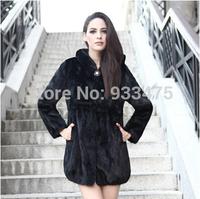 2014 New fashion Women Genuine Big Pieces Mink Fur Coat With Hood Mink Fur Jacket winter fur garment EMS Free Shipping TPC011