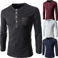2014 Men's Stylish Comfort Long Sleeves T-Shirt Tunic Button Tops/Tees spring summer Fashion