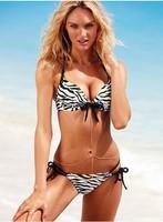BeautyWill sexy  V neckline  leopard bikini swimsuit steel prop gather
