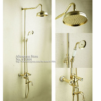 Luxury Gold Color Artistic Shower Set  Faucet Mixer Taps Rainfall Head Pattern Ceramic Handheld Spray  1711023